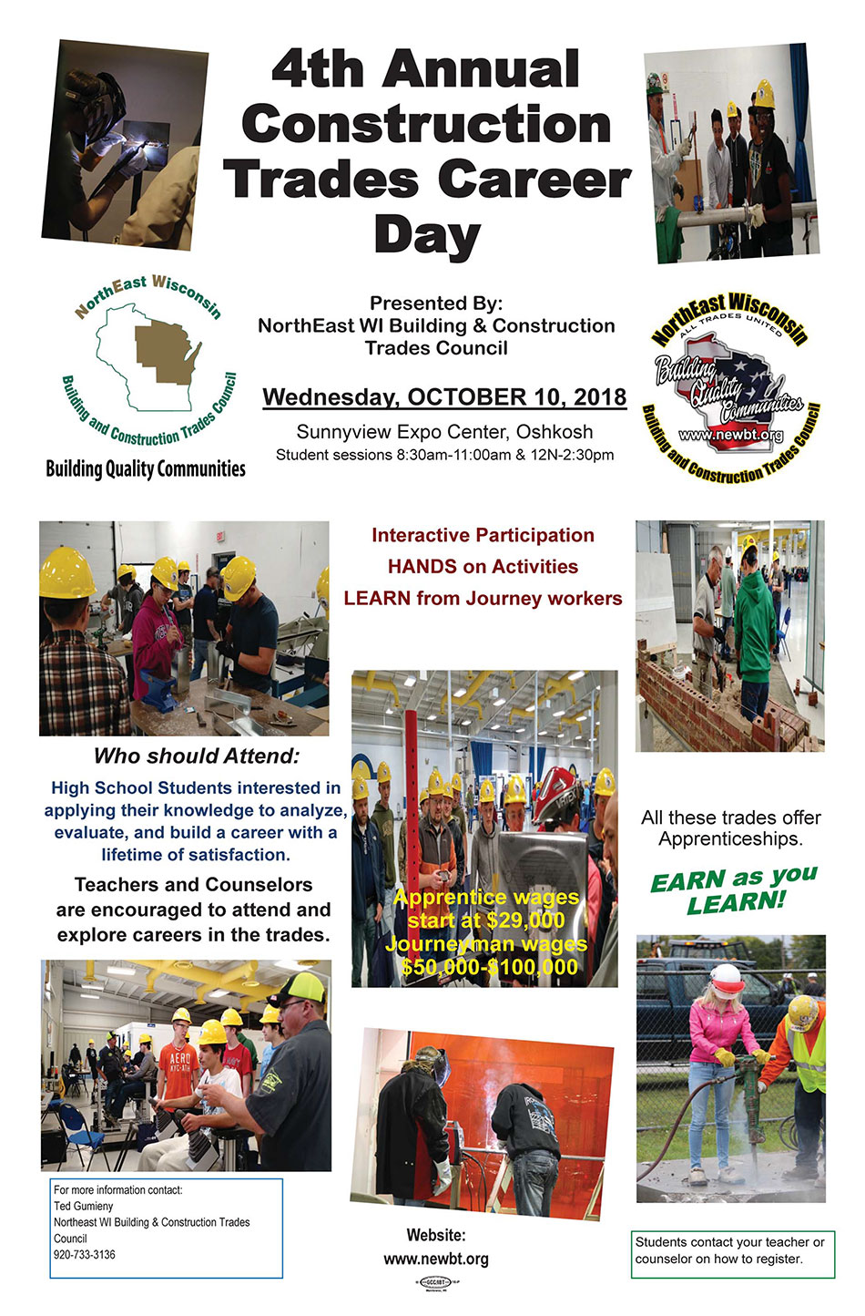 2018 Construction Trades Career Day Event,Northeast WI Building and Construction Trades Council